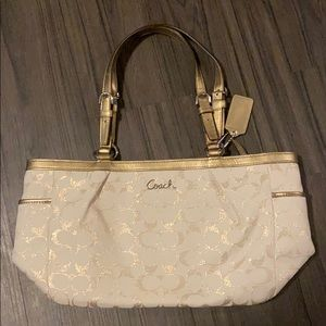 AUTHENTIC Coach Purse, Gold/Ivory